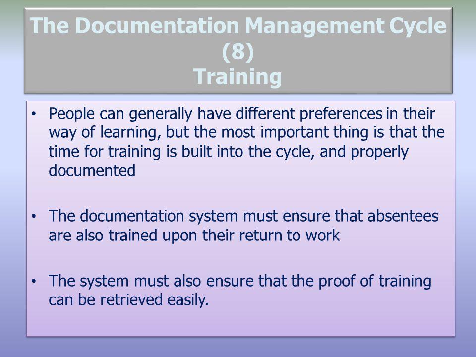 The Documentation Management Cycle (8) Training