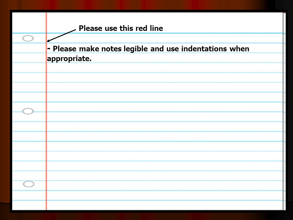- Please make notes legible and use indentations when appropriate.