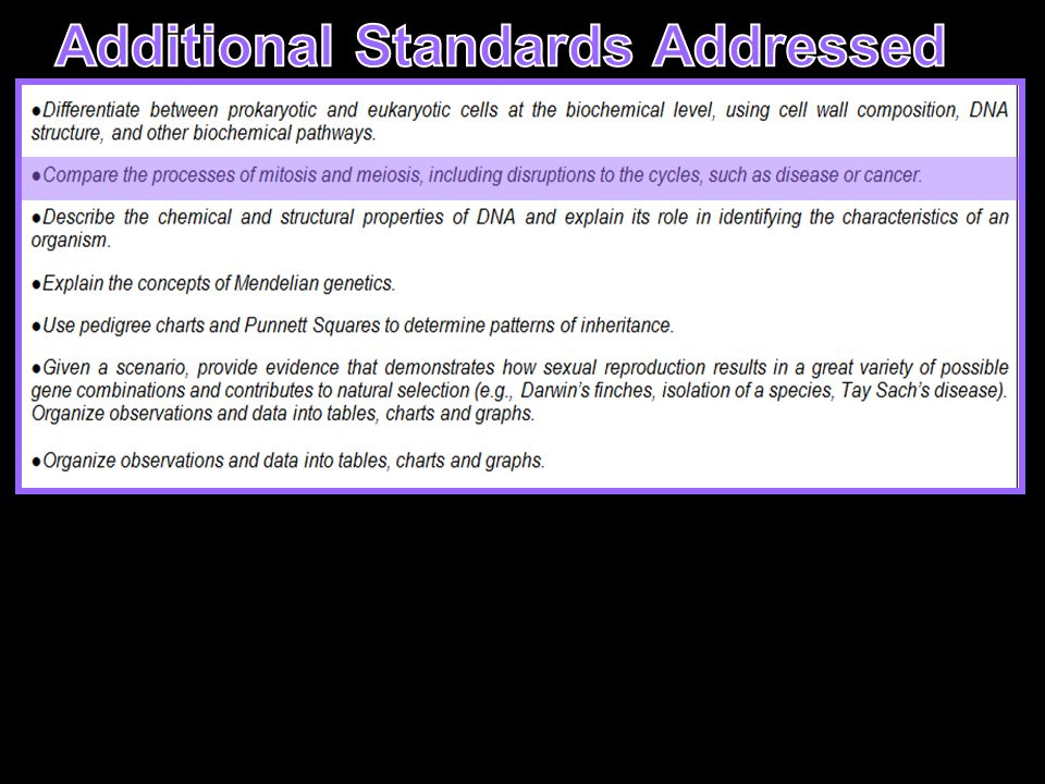 Additional Standards Addressed