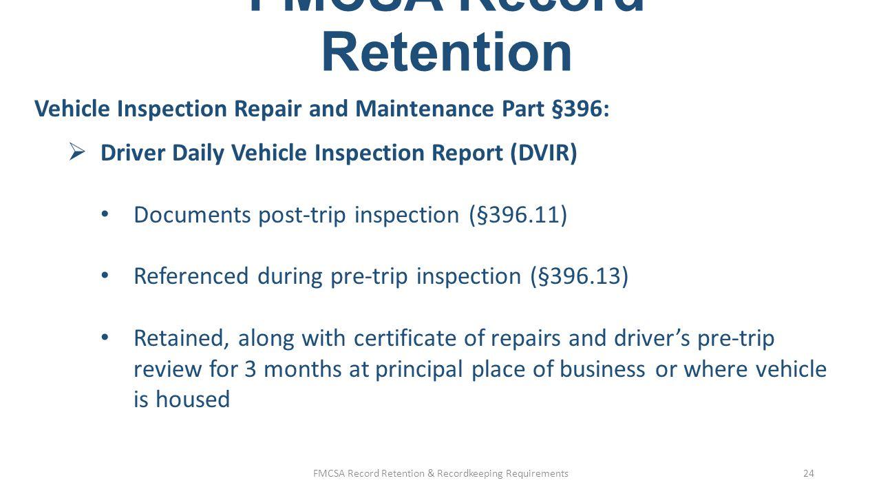 FMCSA Record Retention