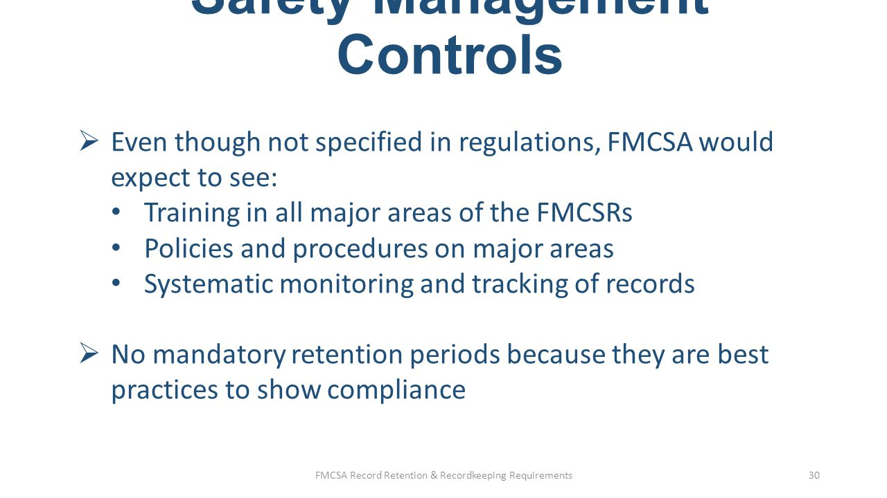 Safety Management Controls