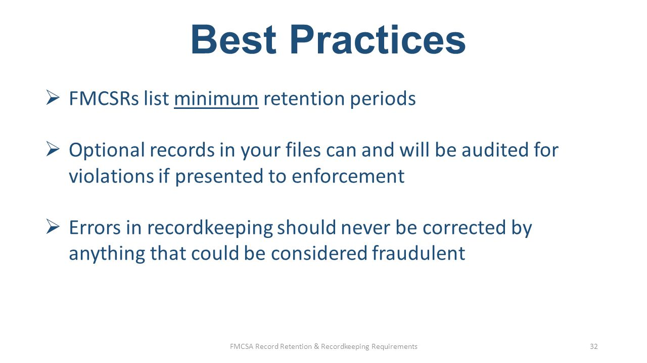 FMCSA Record Retention & Recordkeeping Requirements
