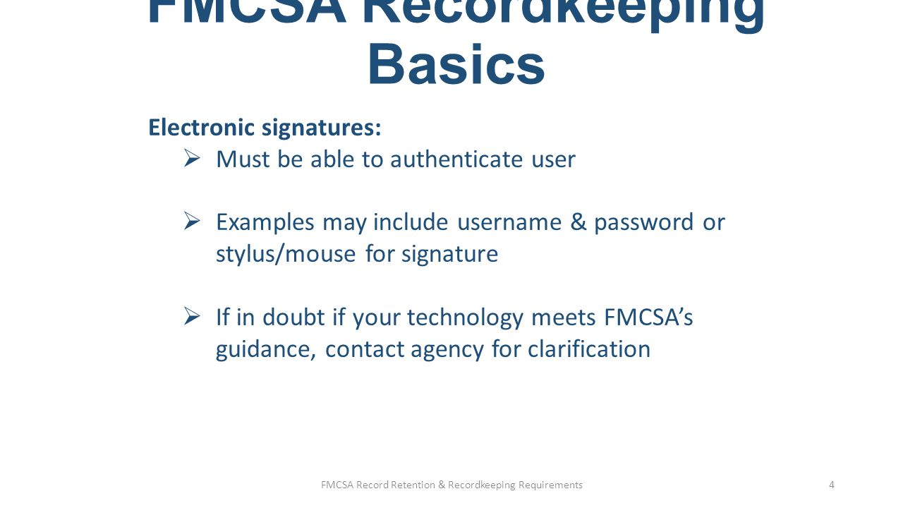 FMCSA Recordkeeping Basics