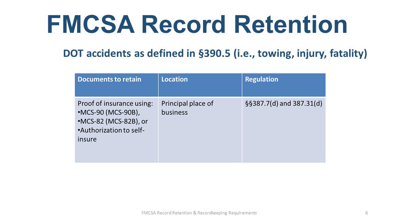Fmcsa record retention recordkeeping basics ppt video online fmcsa record retention reheart Gallery