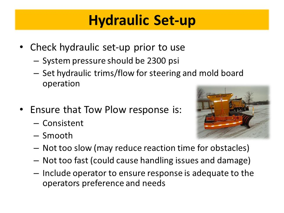Hydraulic Set-up Check hydraulic set-up prior to use