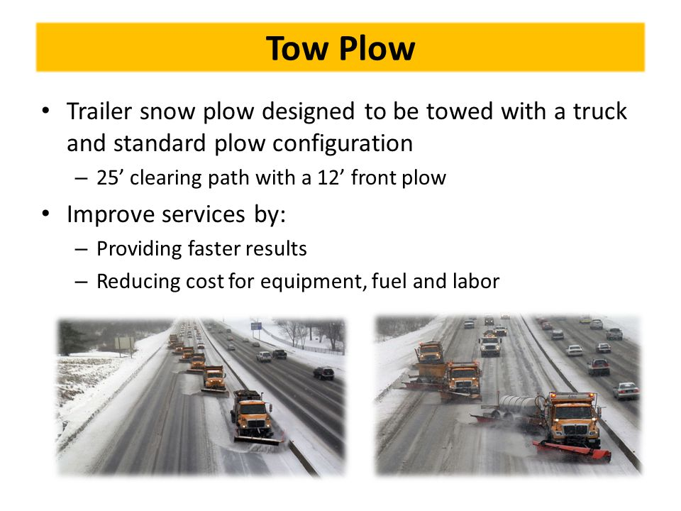 Tow Plow Trailer snow plow designed to be towed with a truck and standard plow configuration. 25' clearing path with a 12' front plow.