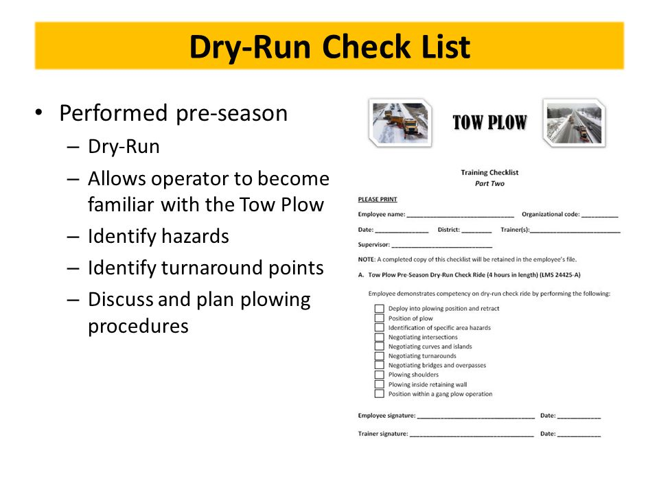 Dry-Run Check List Performed pre-season Dry-Run