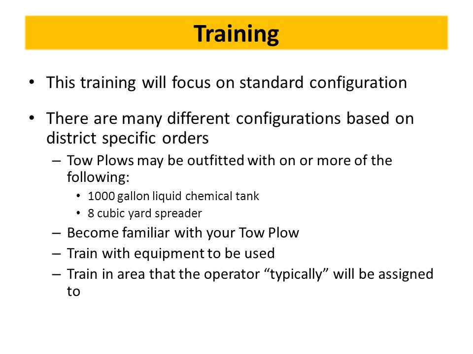 Training This training will focus on standard configuration
