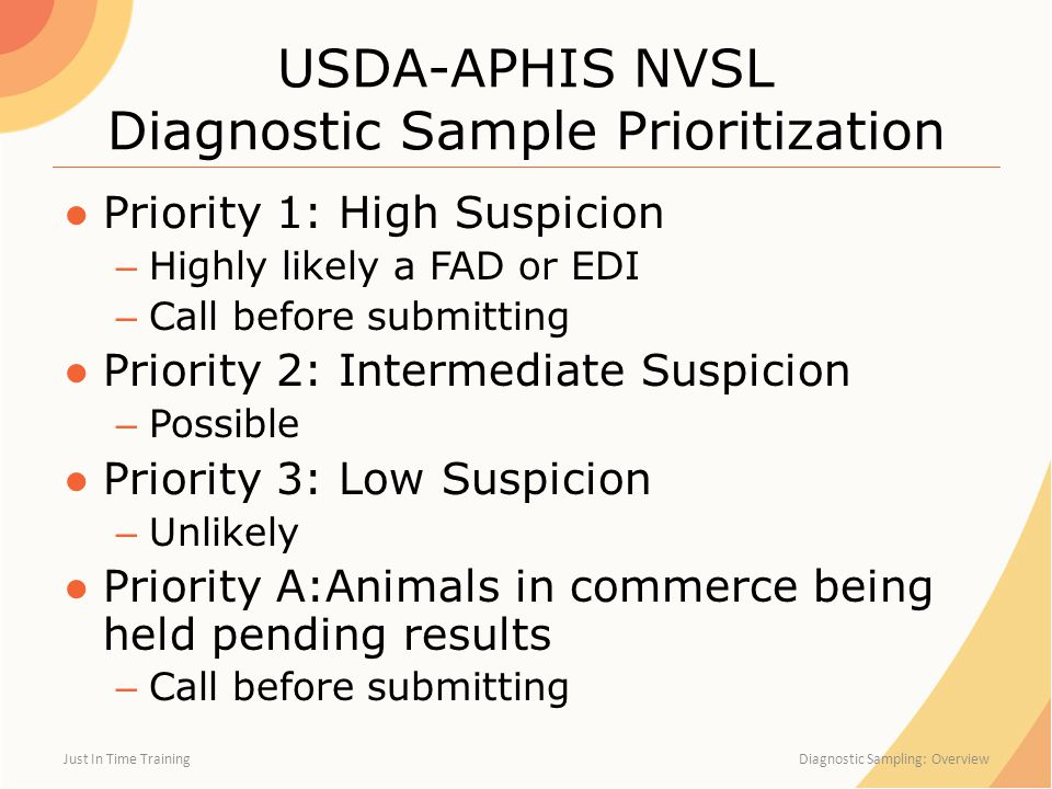 USDA-APHIS NVSL Diagnostic Sample Prioritization