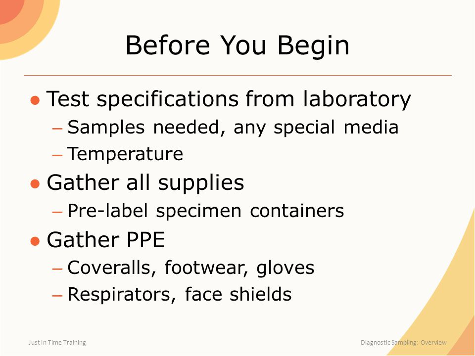 Before You Begin Test specifications from laboratory