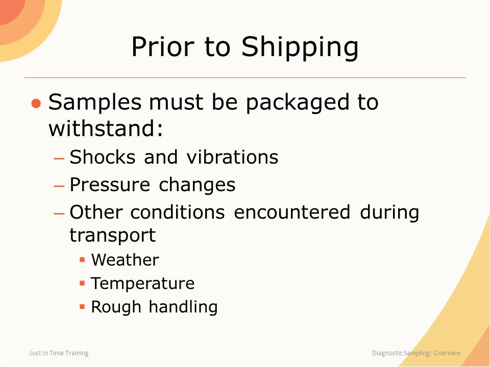 Prior to Shipping Samples must be packaged to withstand: