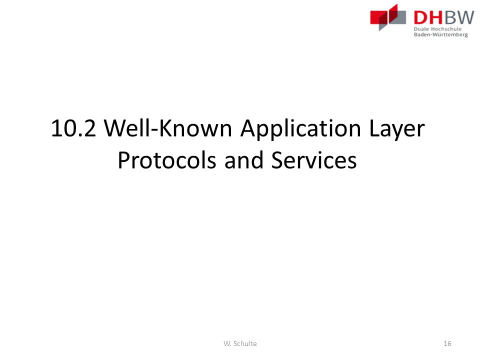 10.2 Well-Known Application Layer Protocols and Services