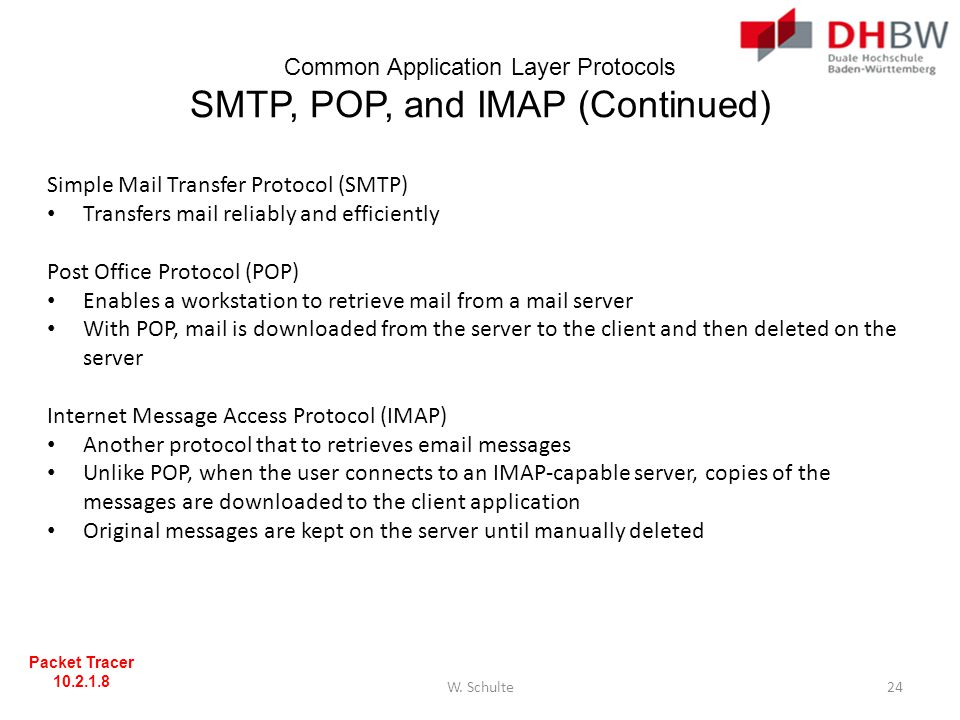 Common Application Layer Protocols SMTP, POP, and IMAP (Continued)
