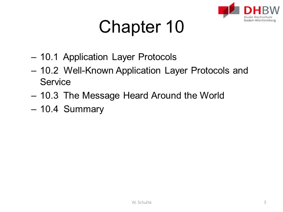 Chapter 10 10.1 Application Layer Protocols