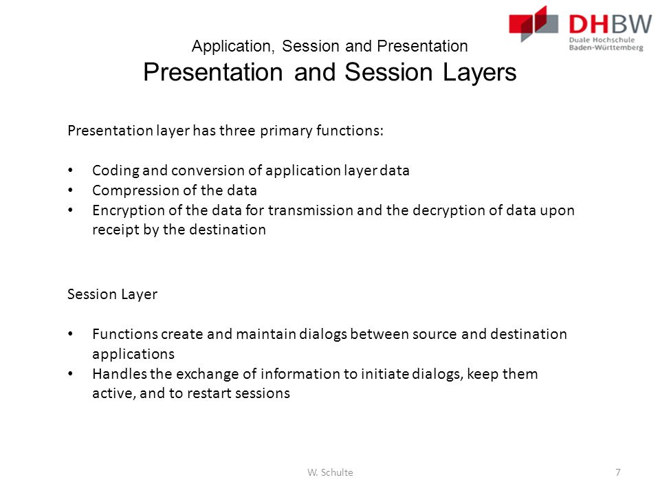 Application, Session and Presentation Presentation and Session Layers