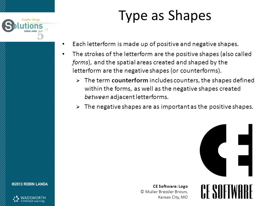 Type as Shapes Each letterform is made up of positive and negative shapes.