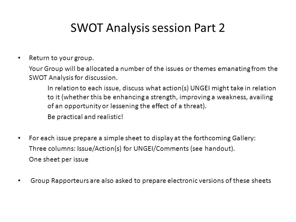 SWOT Analysis session Part 2