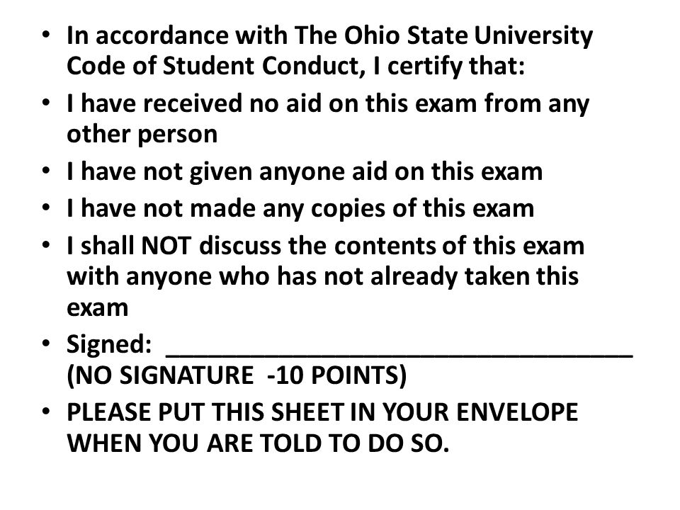 In accordance with The Ohio State University Code of Student Conduct, I certify that: