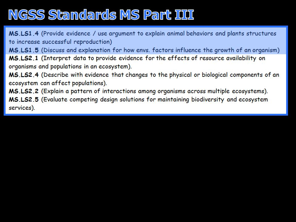 NGSS Standards MS Part III