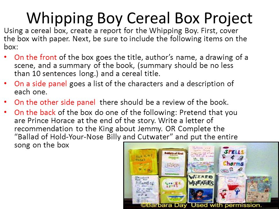 How To Make A Book Cover Using Powerpoint : Whipping boy cereal box project ppt video online download