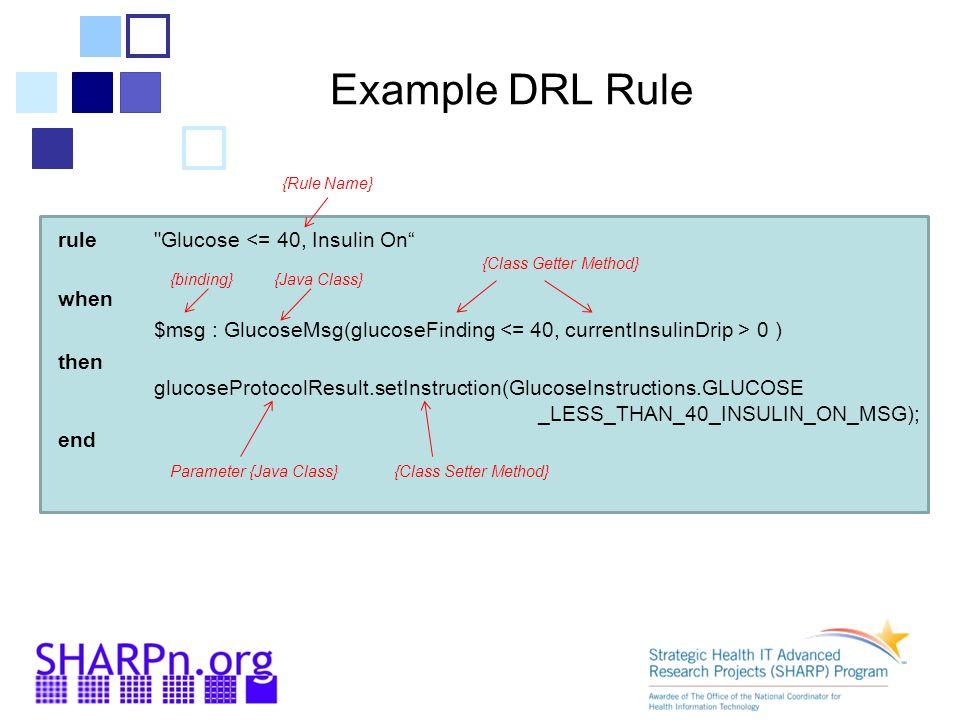Example DRL Rule {Rule Name} rule Glucose <= 40, Insulin On when. $msg : GlucoseMsg(glucoseFinding <= 40, currentInsulinDrip > 0 )
