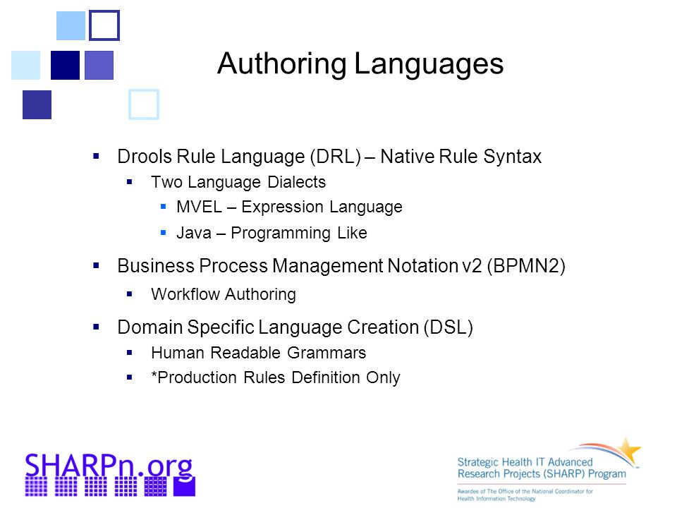 Authoring Languages Drools Rule Language (DRL) – Native Rule Syntax