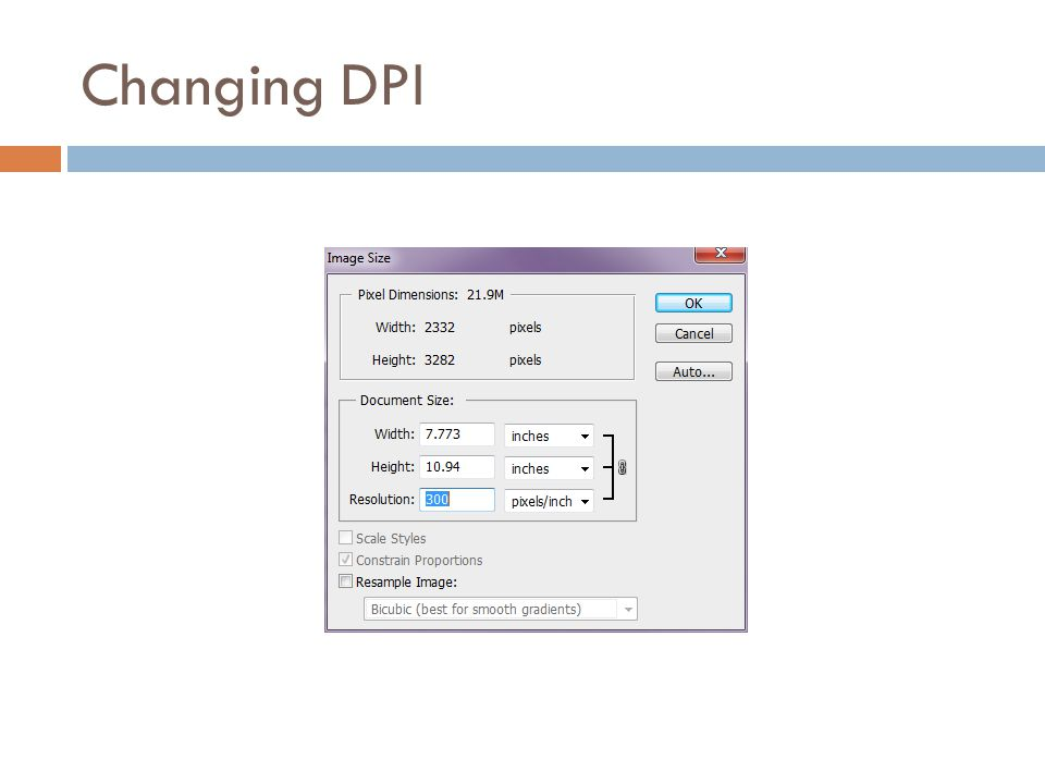 Changing DPI