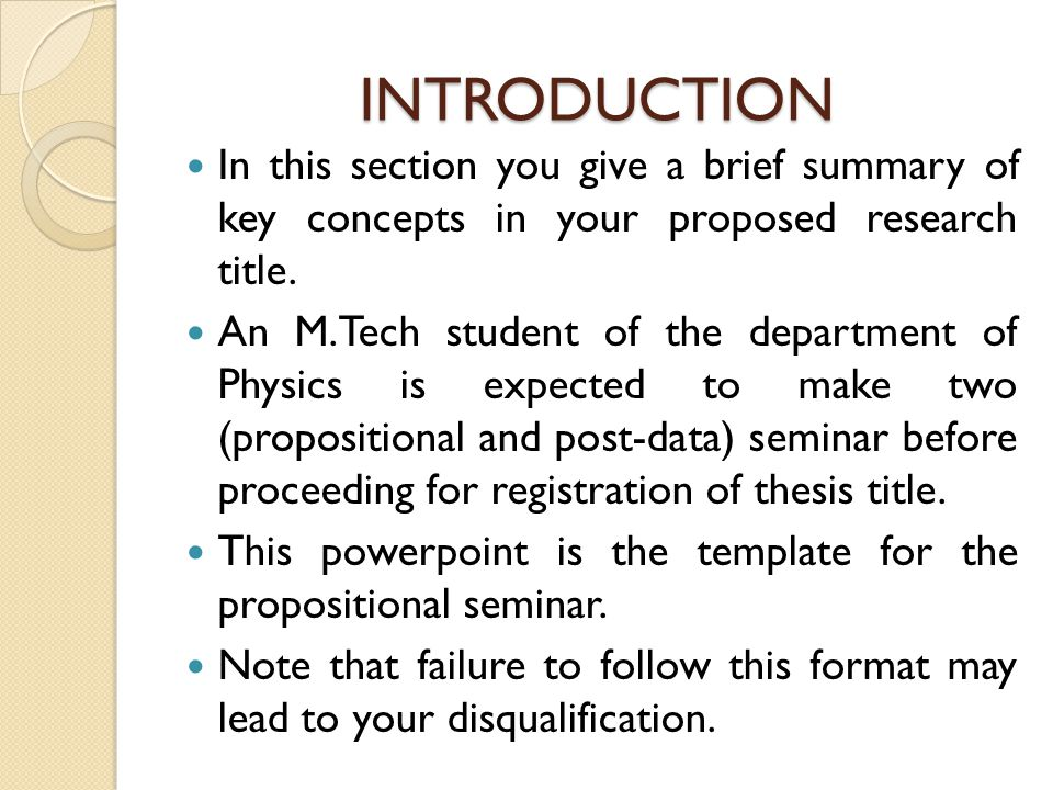 INTRODUCTION In this section you give a brief summary of key concepts in your proposed research title.