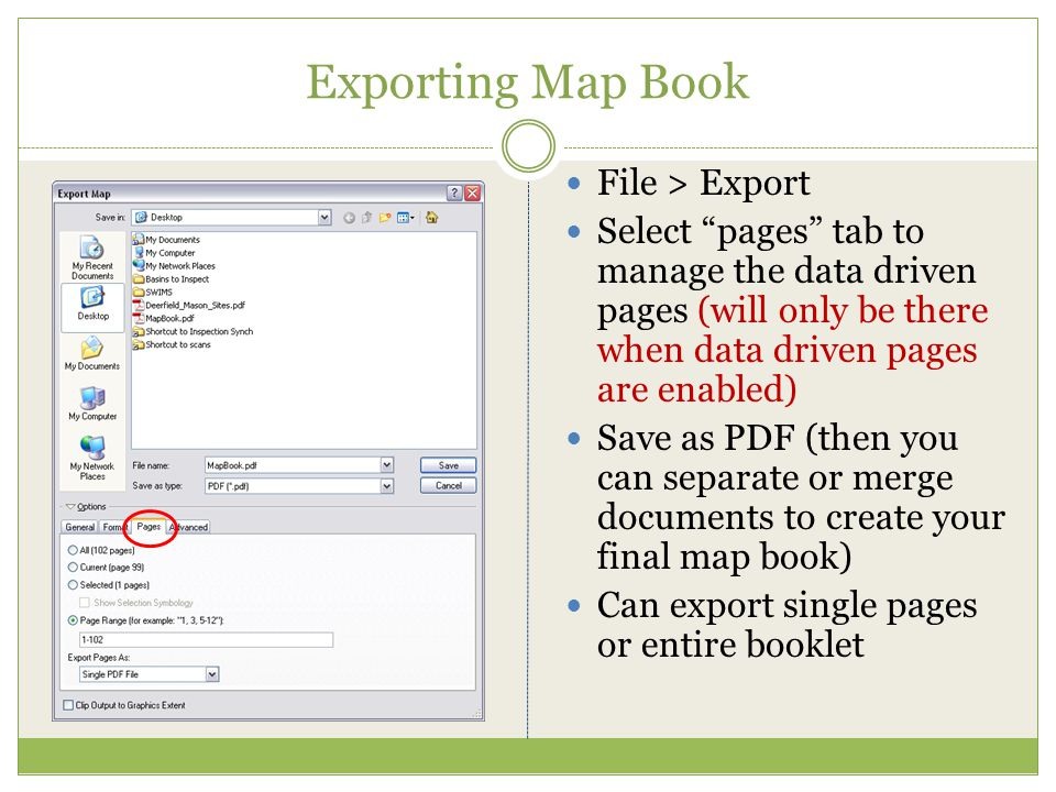 Exporting Map Book File > Export