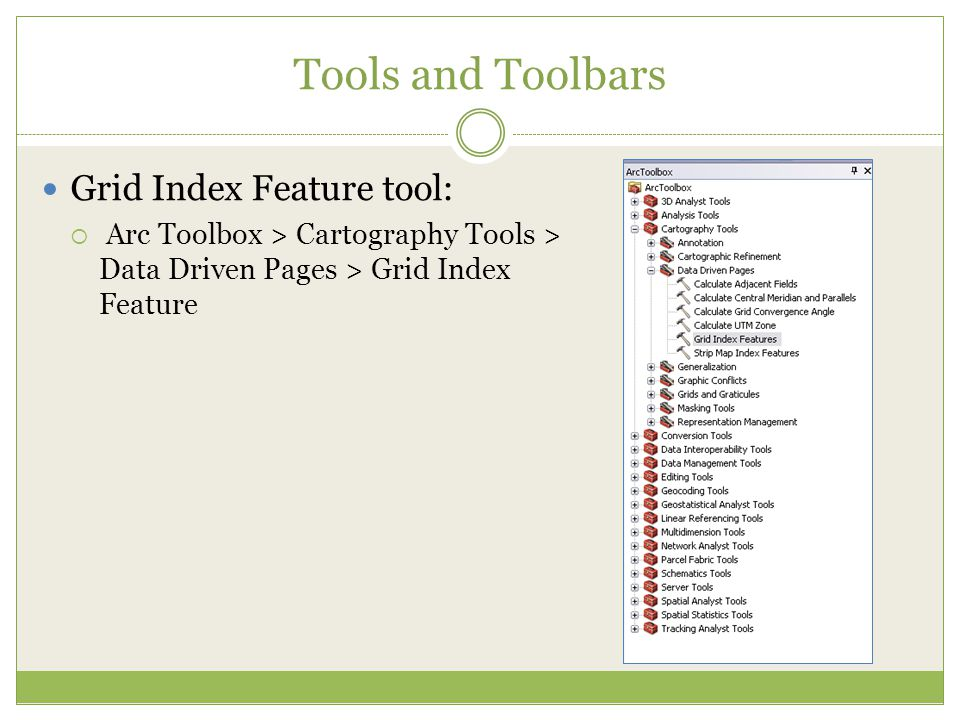 Tools and Toolbars Grid Index Feature tool: