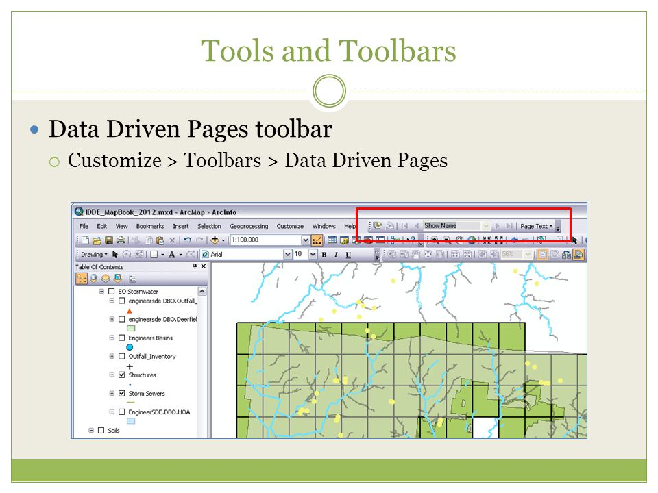 Tools and Toolbars Data Driven Pages toolbar