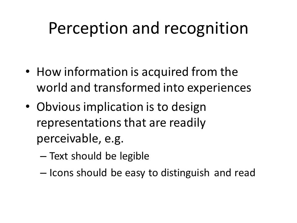 Perception and recognition