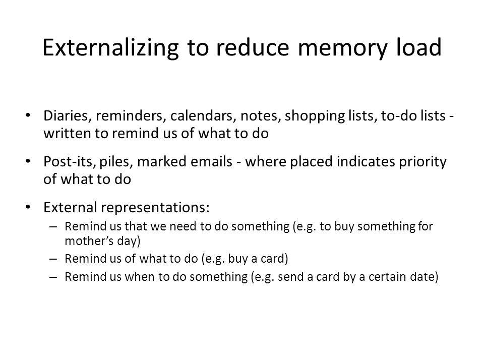 Externalizing to reduce memory load