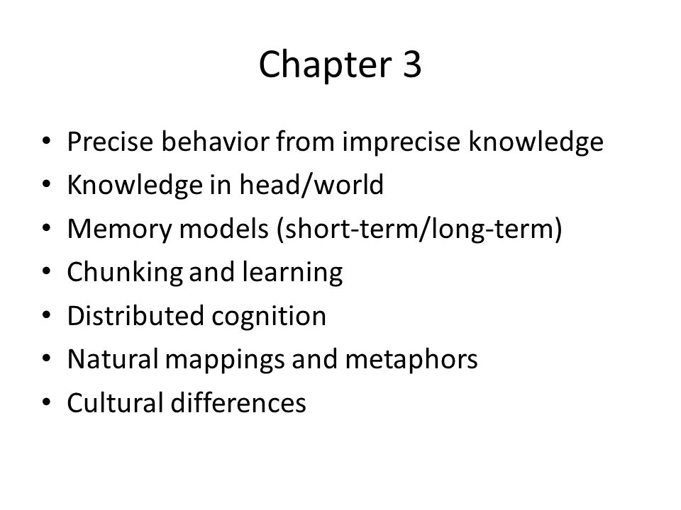 Chapter 3 Precise behavior from imprecise knowledge