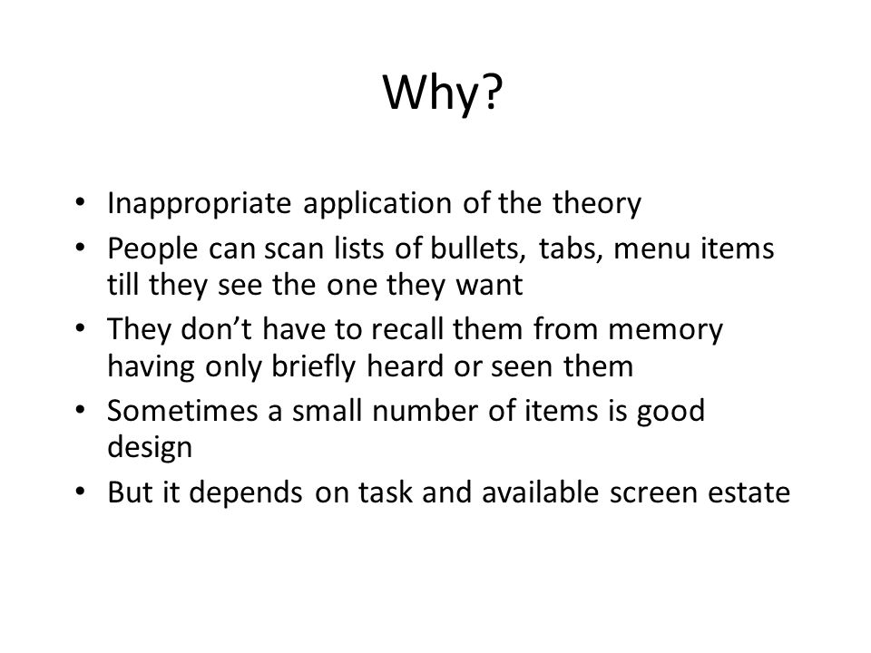 Why Inappropriate application of the theory