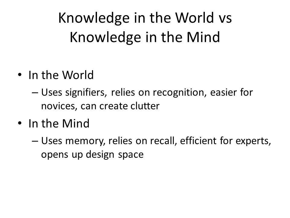 Knowledge in the World vs Knowledge in the Mind