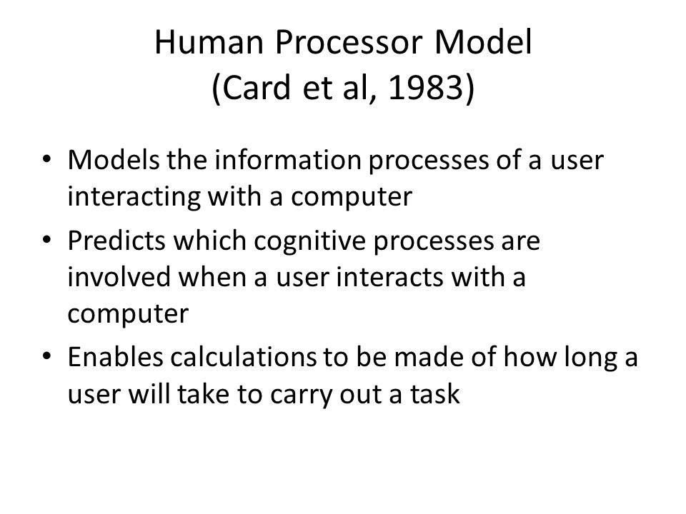 Human Processor Model (Card et al, 1983)