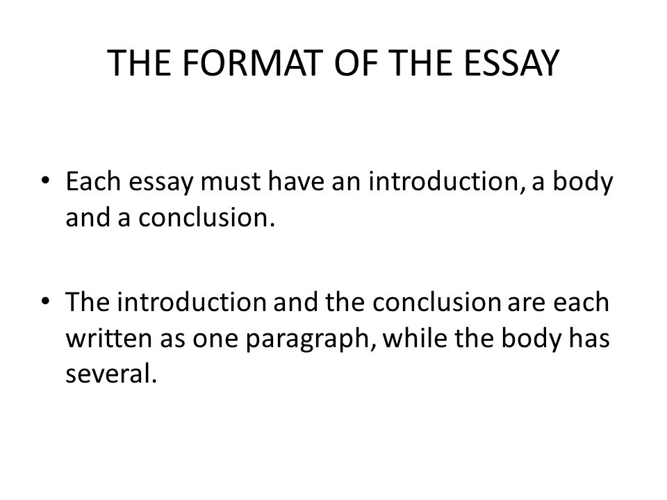 essay format introduction conclusion Don't focus on a minor point or issue in the essay the conclusion is not the time to nitpick with a small theme in your essay in fact, it's the time to step back and focus on the big picture make sure your essay focuses on the heart of the essay, not one strand of hair these words are not advanced ways to start a transition.