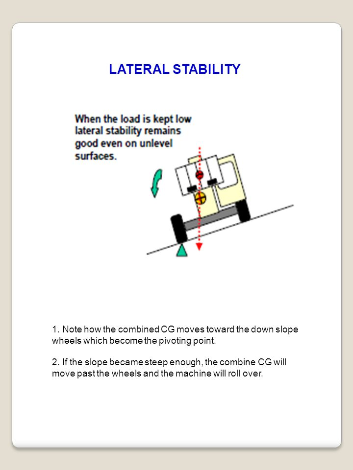 LATERAL STABILITY 1. Note how the combined CG moves toward the down slope wheels which become the pivoting point.
