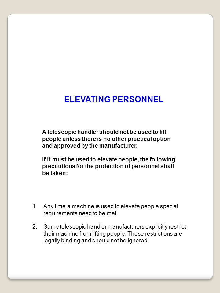 ELEVATING PERSONNEL