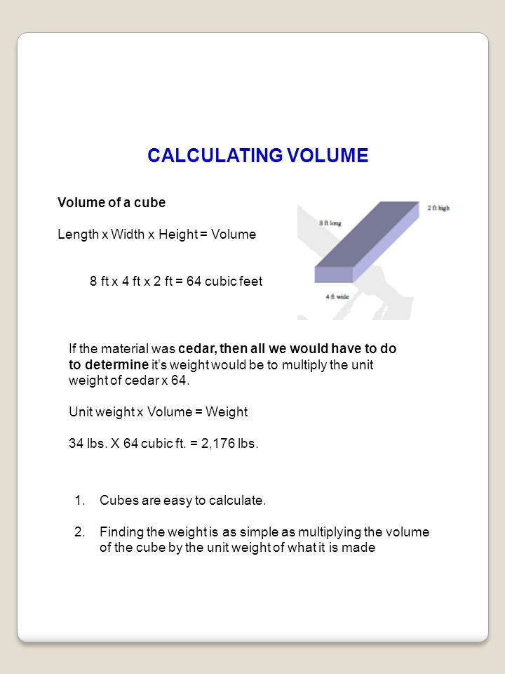 CALCULATING VOLUME Volume of a cube Length x Width x Height = Volume