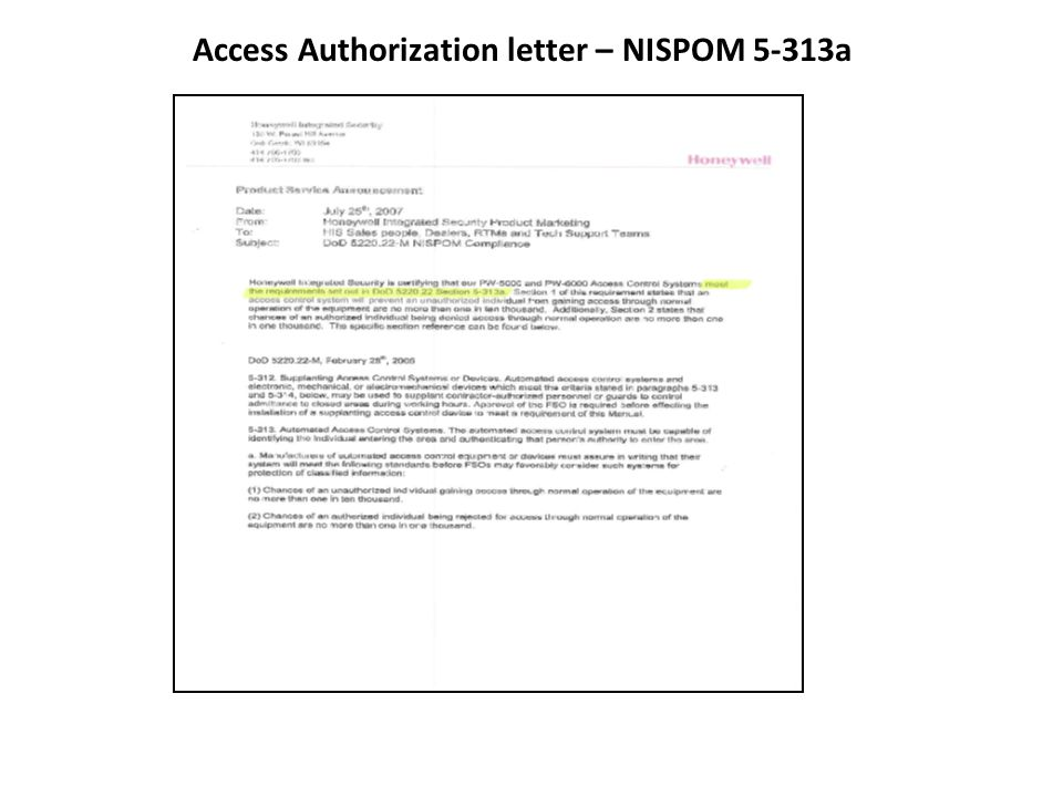 Access Authorization letter – NISPOM 5-313a