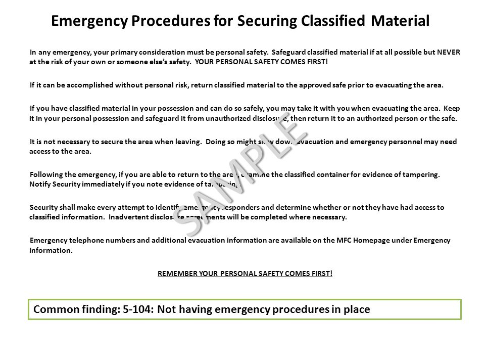 Emergency Procedures for Securing Classified Material