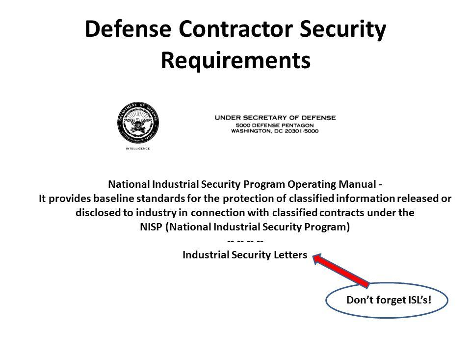 Defense Contractor Security Requirements