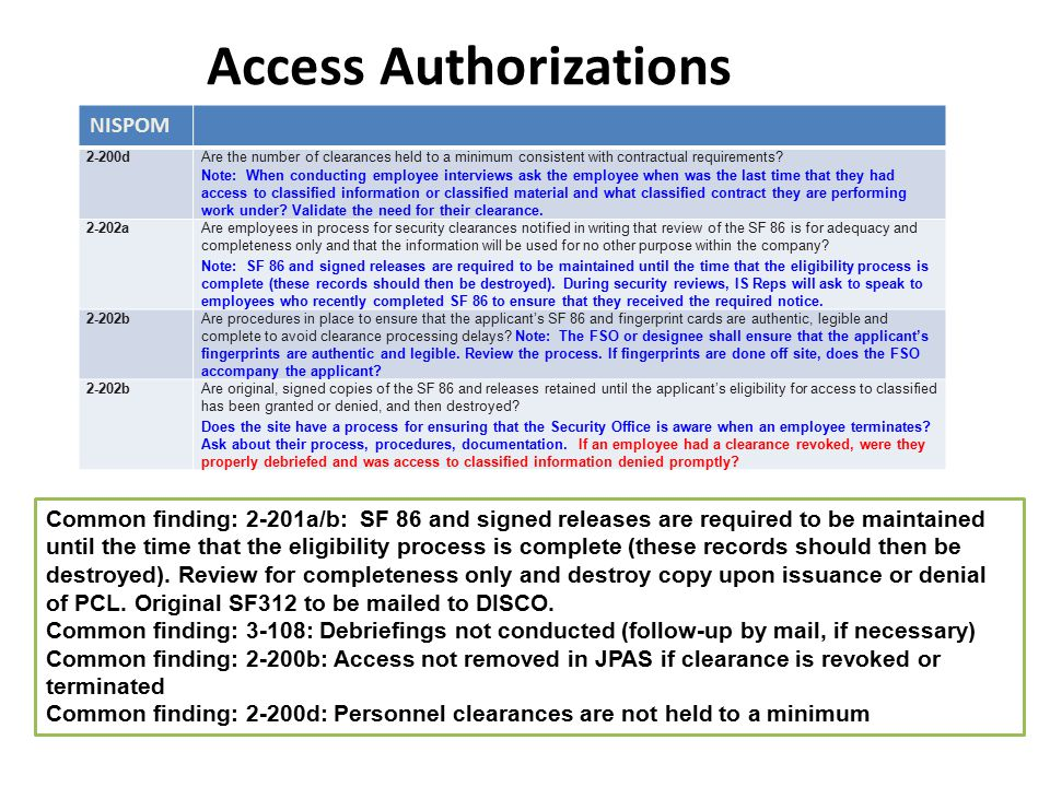 Access Authorizations