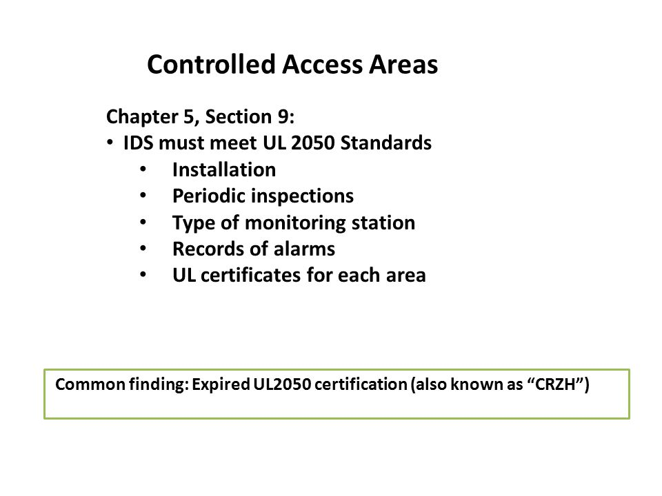 Controlled Access Areas