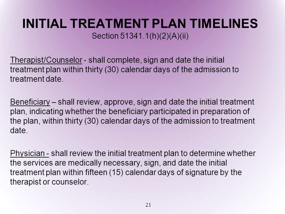 INITIAL TREATMENT PLAN TIMELINES Section 51341.1(h)(2)(A)(ii)