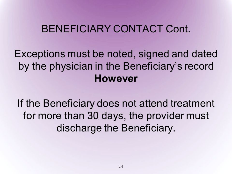 BENEFICIARY CONTACT Cont