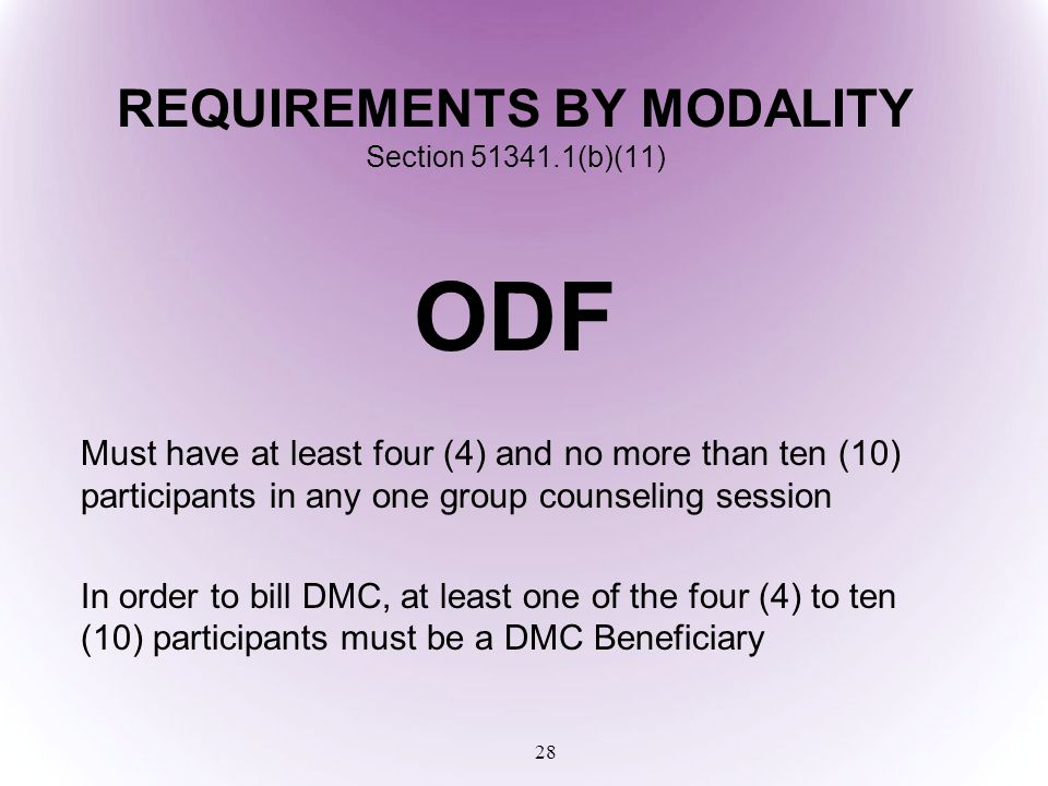 REQUIREMENTS BY MODALITY Section 51341.1(b)(11)