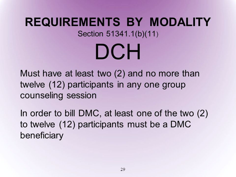 REQUIREMENTS BY MODALITY Section 51341.1(b)(11) DCH